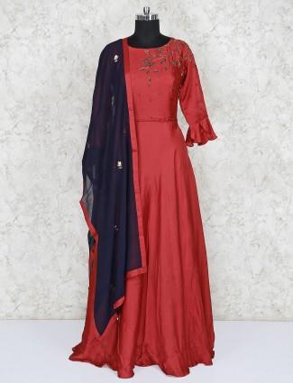 Cotton silk light maroon floor length anarkali salwar suit