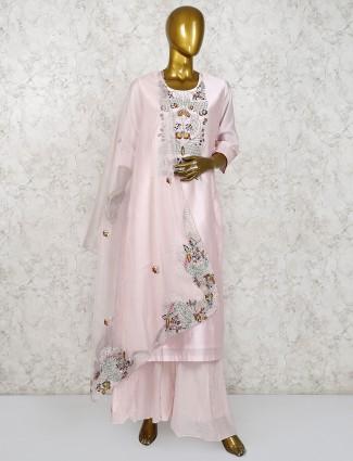 Cotton silk light pink punjabi palazzo suit for festival