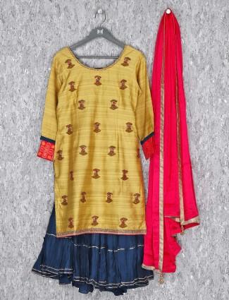 Cotton silk light yellow sharara suit