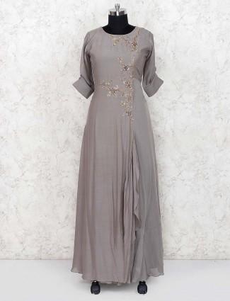 Cotton silk long salwar suit in grey hue