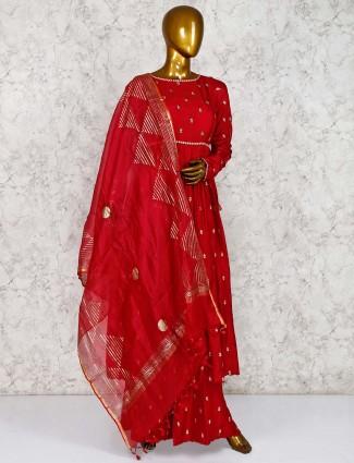 Cotton silk maroon punjabi palazzo suit
