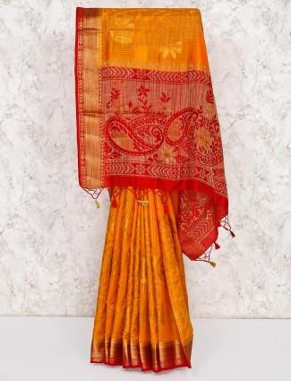 Cotton silk mustard yellow saree