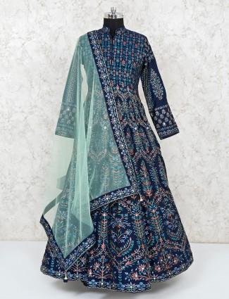 Cotton silk navy floor length anarkali salwar suit