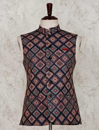 Cotton silk navy printed waistcoat