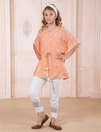 Cotton silk pant suit in peach