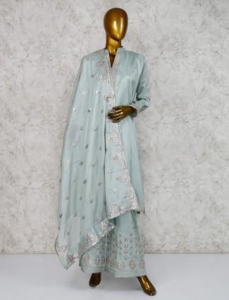 Cotton silk pastel aqua palazzo suit for festive