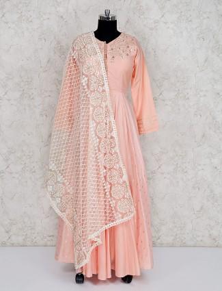 Cotton silk peach floor length anarkali salwar suit