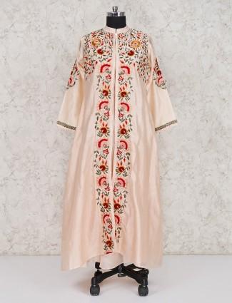 Cotton silk peach hue jacket style long salwar suit
