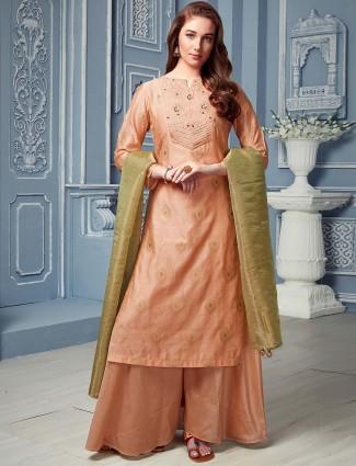 Cotton silk peach hue punjabi palazzo suit