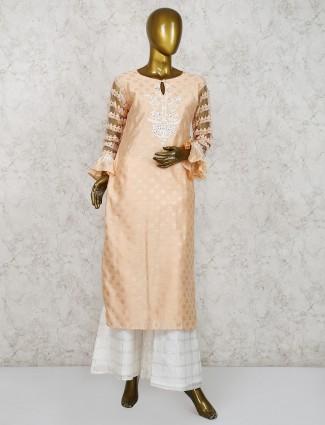 Cotton silk peach hue punjabi style palazzo suit