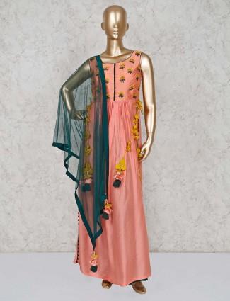 Cotton silk peach palazzo suit