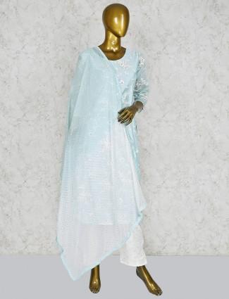 Cotton silk peach punjabi salwar suit
