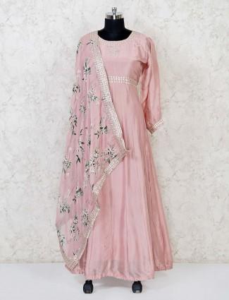 Cotton silk pink anarkali suit in festive