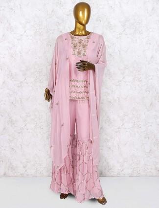 Cotton silk pink color designer punjabi sharara suit
