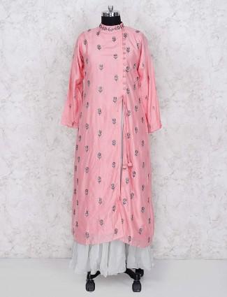 Cotton silk pink color lehenga cum salwar suit