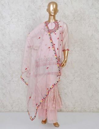 Cotton silk pink designer punajbi palazzo suit