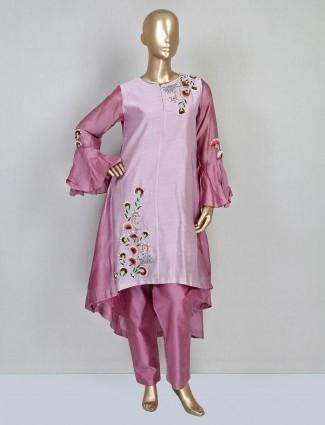 Cotton silk pink festive designer salwar suit