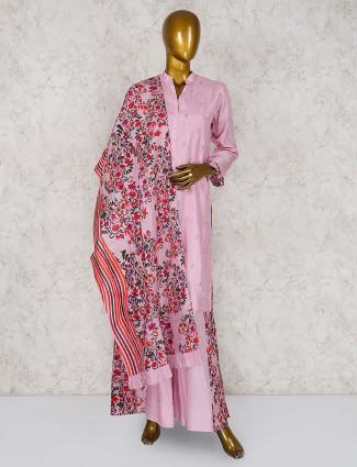 Cotton silk pink punjabi palazzo suit