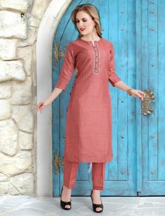 Cotton silk pink punjabi suit for festive