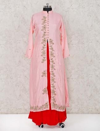 Cotton silk pink stand neck lehenga suit