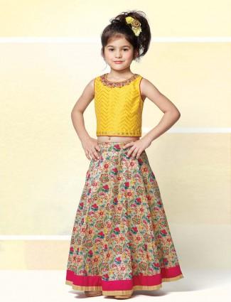 Cotton silk printed lehenga pair with yellow blouse