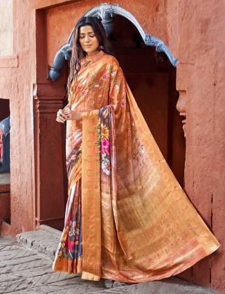 Cotton silk printed orange color saree