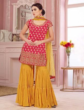 Cotton silk punjabi gharara suit in red