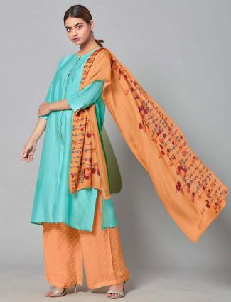 Cotton silk punjabi palazzo suit in aqua color
