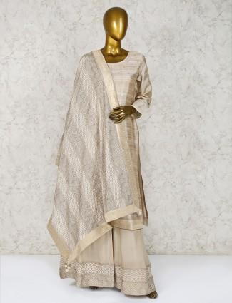 Cotton silk punjabi palazzo suit in beige
