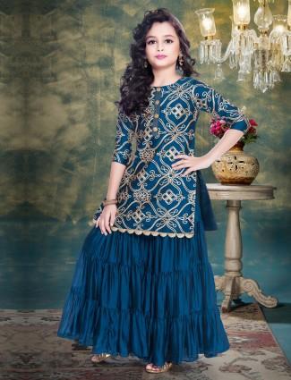 Cotton silk royal blue color punjabi sharara suit