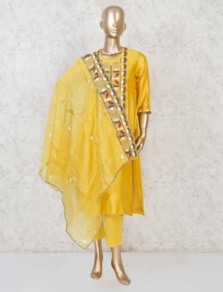 Cotton silk wedding punjabi pant suit in yellow