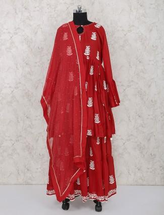 Cotton silk wedding wear red lehenga suit