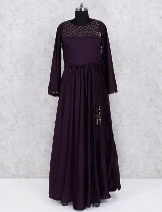 Cotton silk wine hue floor length anarkali salwar suit