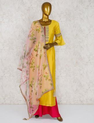 Cotton silk yellow festive palazzo suit