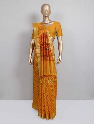 cotton silk yellow festive wear sari