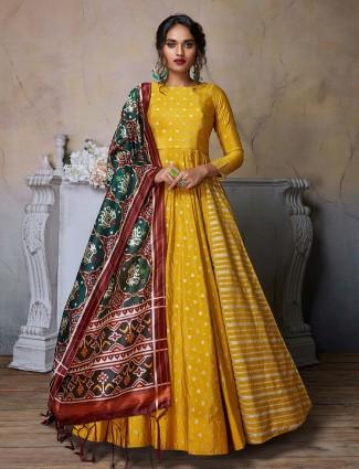Cotton silk yellow floor length anarkali designer salwar suit