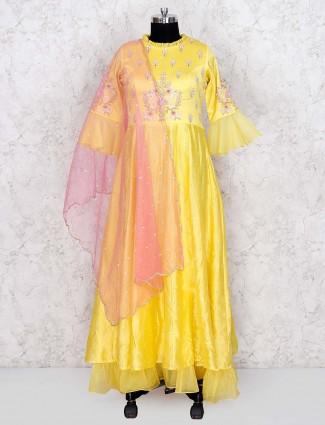 Cotton silk yellow hue floor length anarkali salwar suit