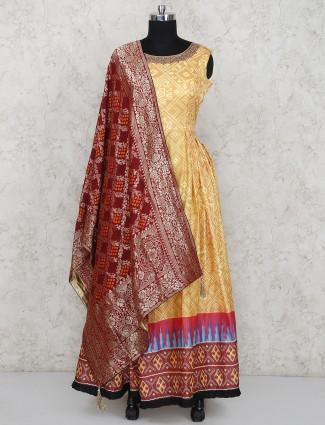 Cotton silk yellow hue long salwar suit