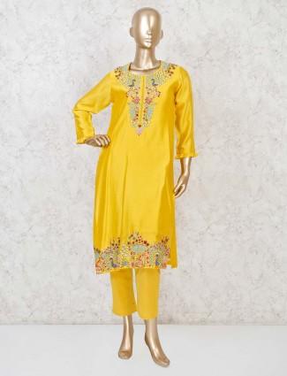 Cotton silk yellow party punjabi pant suit
