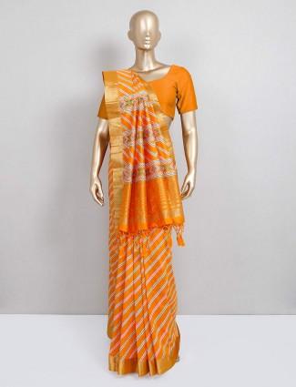 cotton silk yellow saree for festival