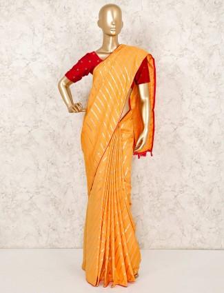 Cotton silk yellow saree with magenta blouse piece