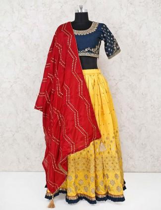 Cotton silk yellow u neck lehenga choli