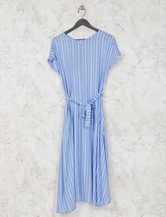 Cotton sky blue round neck dress