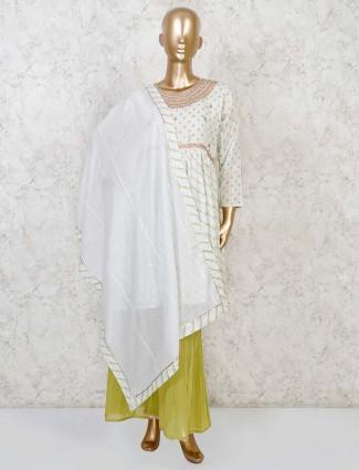 Cotton white punjabi sharara suit