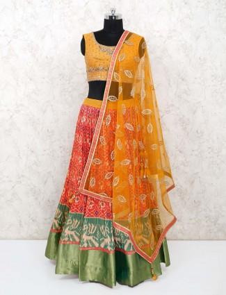 Cotton yellow and orange printed lehenga choli