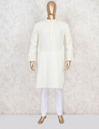 Cotton yellow festive kurta suit