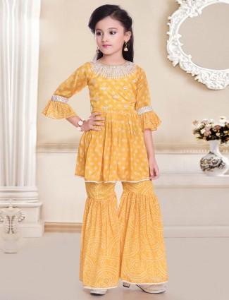 Cotton yellow party punjabi sharara suit