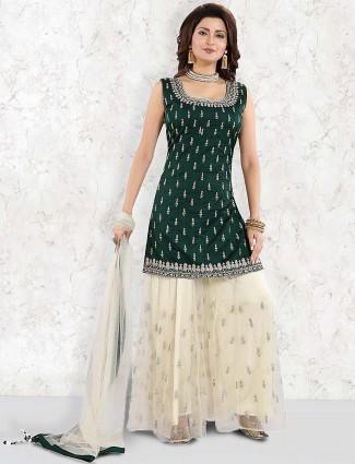 Cream and green cotton silk festive punjabi palazzo suit