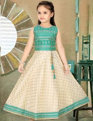 Cream and green cotton silk lehenga choli for little girls
