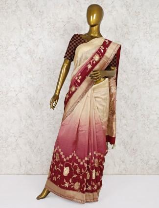 Cream and maroon festive saree